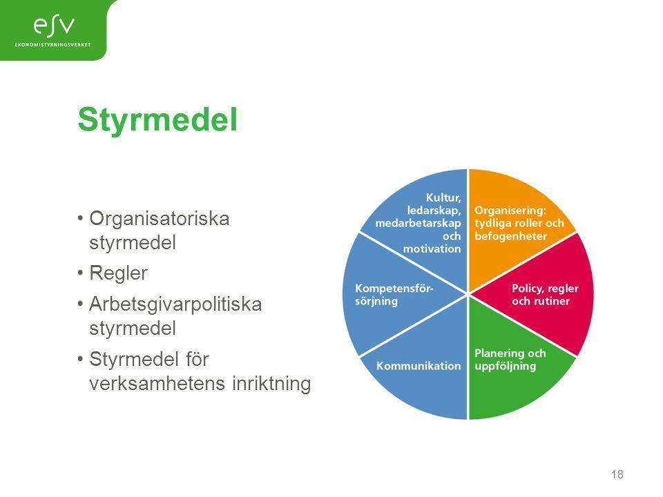 Styrmedel Organisatoriska styrmedel Regler Arbetsgivarpolitiska styrmedel Styrmedel för verksamhetens inriktning 18