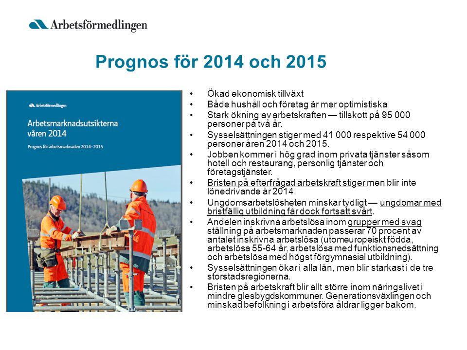 Prognos för 2014 och 2015 Ökad ekonomisk tillväxt Både hushåll och företag är mer optimistiska Stark ökning av arbetskraften — tillskott på 95 000 personer på två år.