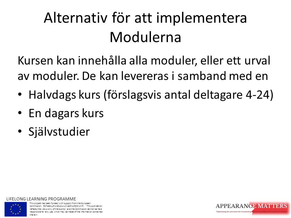 Alternativ för att implementera Modulerna Kursen kan innehålla alla moduler, eller ett urval av moduler.