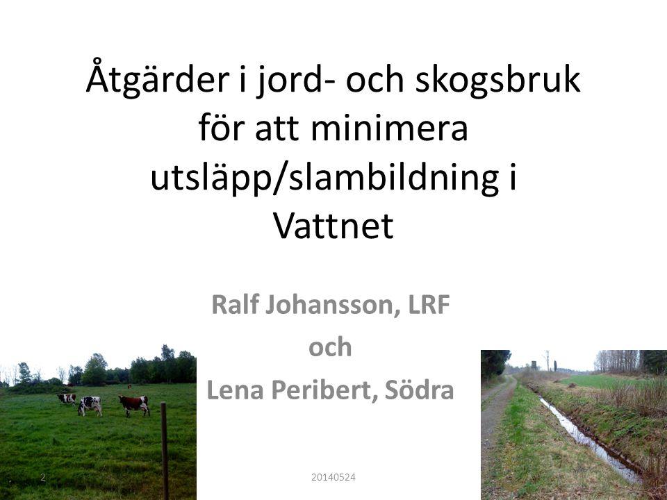 Åtgärder i jord- och skogsbruk för att minimera utsläpp/slambildning i Vattnet Ralf Johansson, LRF och Lena Peribert, Södra 201405242