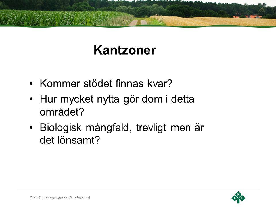 Sid 17 | Lantbrukarnas Riksförbund Kantzoner Kommer stödet finnas kvar.