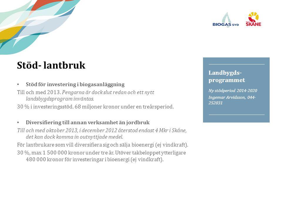 Stöd- lantbruk Stöd för investering i biogasanläggning Till och med 2013. Pengarna är dock slut redan och ett nytt landsbygdsprogram inväntas. 30 % i