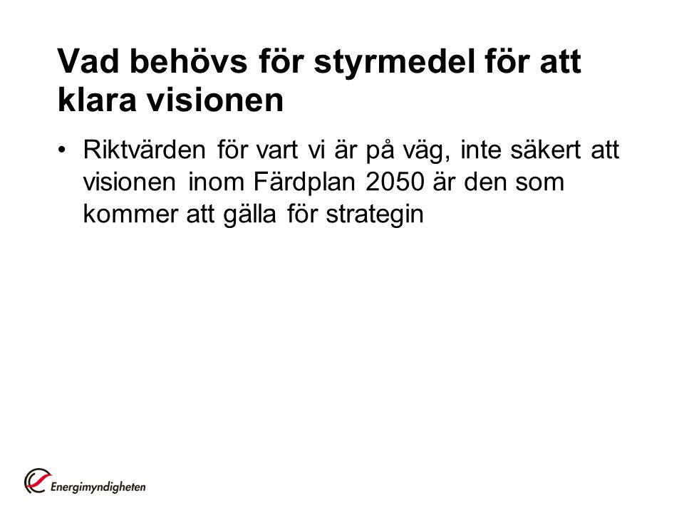Vad behövs för styrmedel för att klara visionen Riktvärden för vart vi är på väg, inte säkert att visionen inom Färdplan 2050 är den som kommer att gälla för strategin
