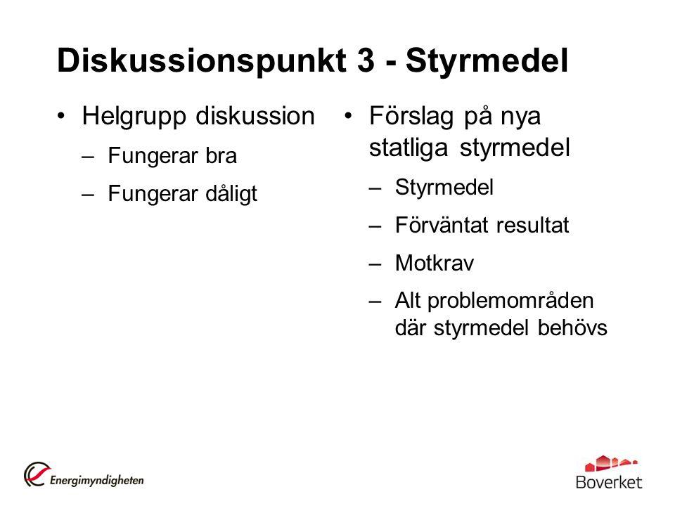 Diskussionspunkt 3 - Styrmedel Helgrupp diskussion –Fungerar bra –Fungerar dåligt Förslag på nya statliga styrmedel –Styrmedel –Förväntat resultat –Motkrav –Alt problemområden där styrmedel behövs