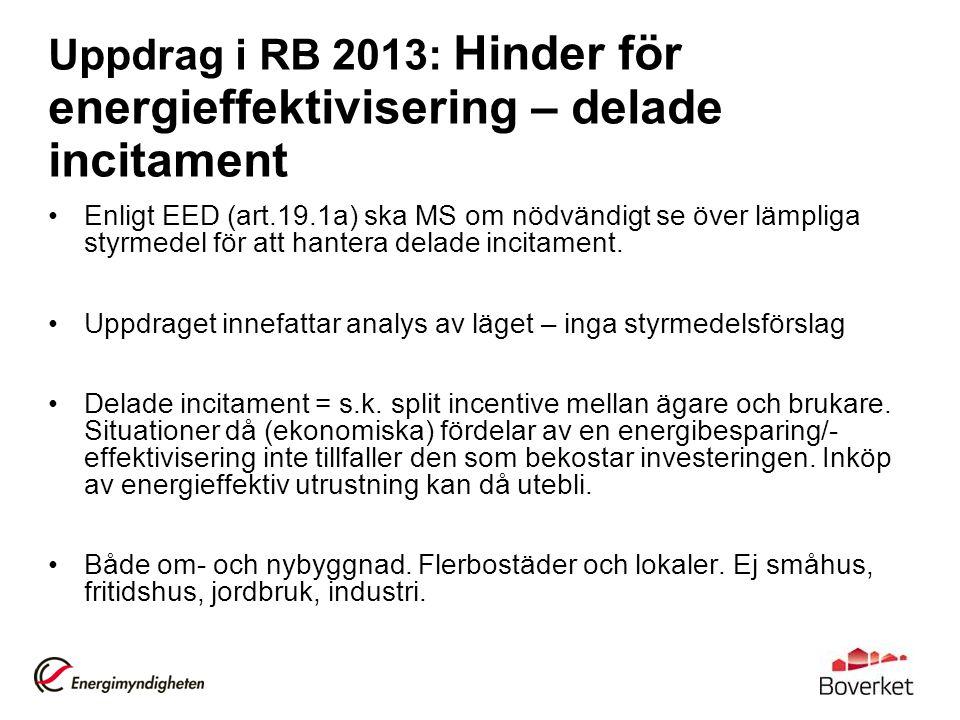 Uppdrag i RB 2013: Hinder för energieffektivisering – delade incitament Enligt EED (art.19.1a) ska MS om nödvändigt se över lämpliga styrmedel för att hantera delade incitament.