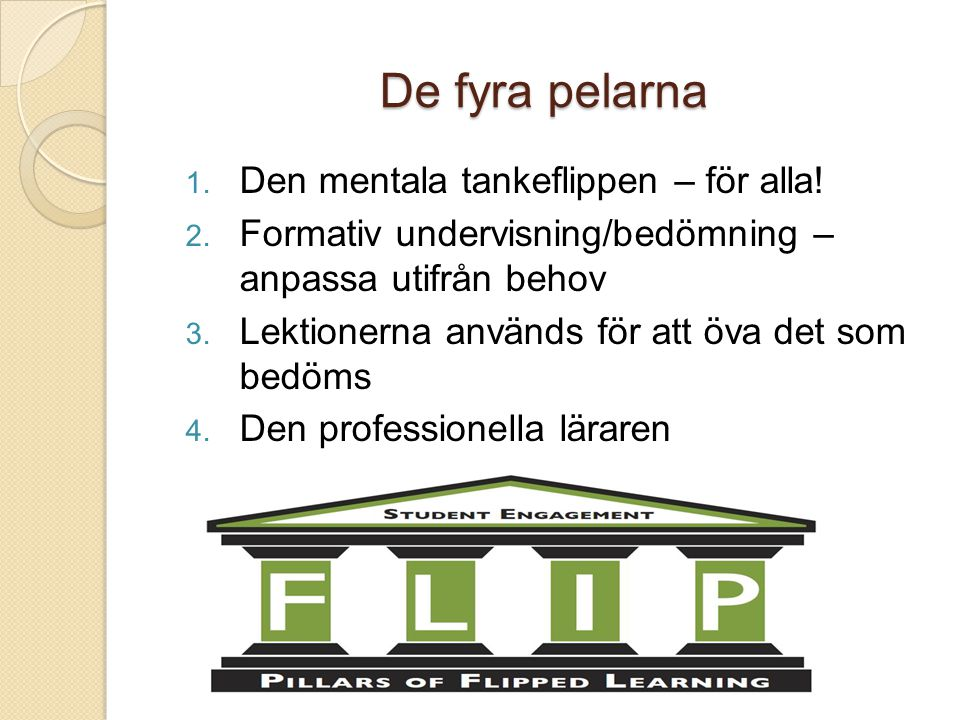 De fyra pelarna 1. Den mentala tankeflippen – för alla! 2. Formativ undervisning/bedömning – anpassa utifrån behov 3. Lektionerna används för att öva
