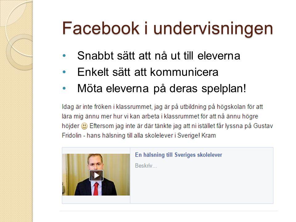 Facebook i undervisningen Snabbt sätt att nå ut till eleverna Enkelt sätt att kommunicera Möta eleverna på deras spelplan!