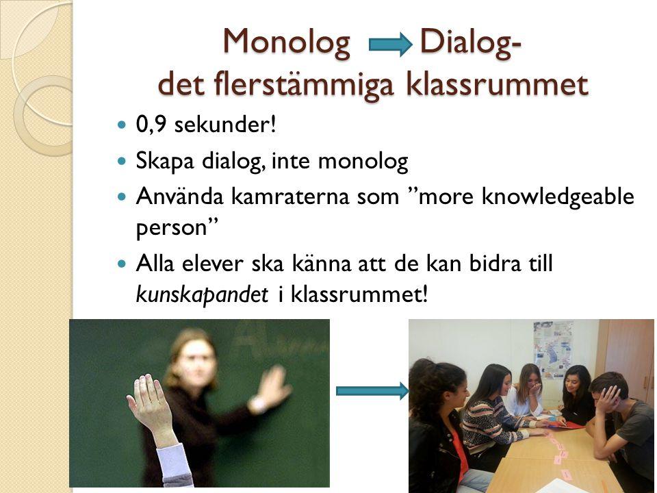 """MonologDialog- det flerstämmiga klassrummet 0,9 sekunder! Skapa dialog, inte monolog Använda kamraterna som """"more knowledgeable person"""" Alla elever sk"""