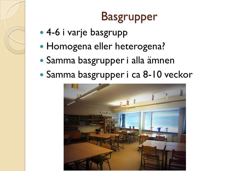 Basgrupper 4-6 i varje basgrupp Homogena eller heterogena? Samma basgrupper i alla ämnen Samma basgrupper i ca 8-10 veckor