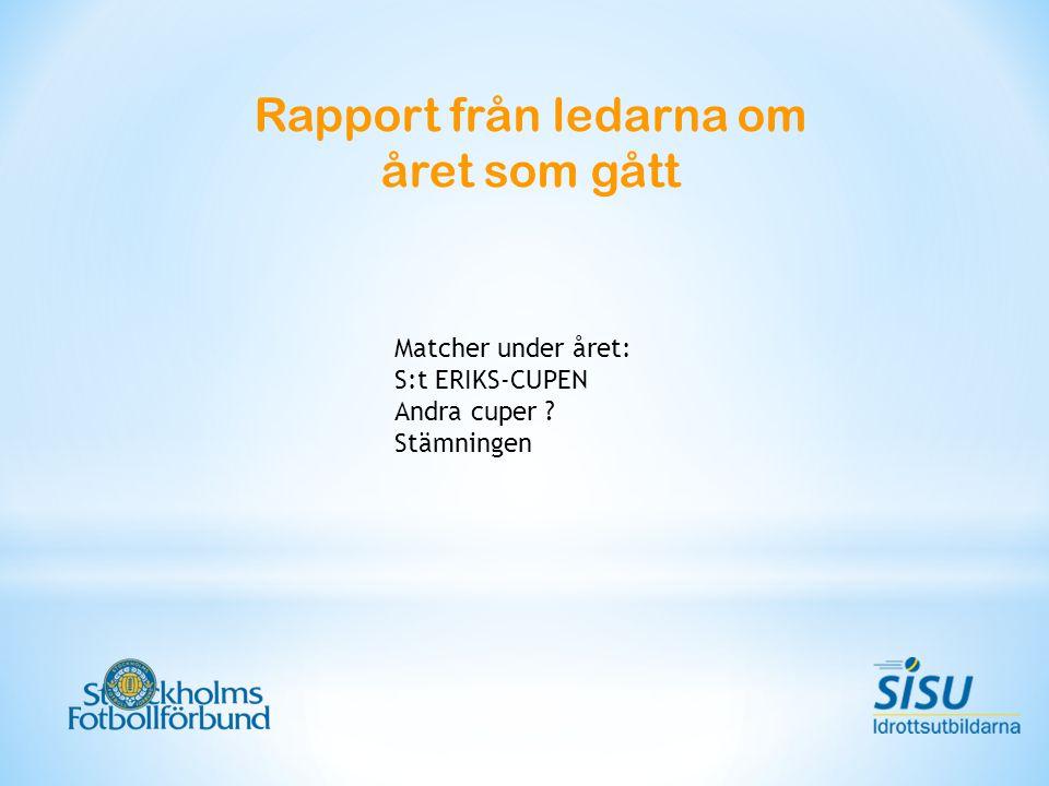 Rapport från ledarna om året som gått Matcher under året: S:t ERIKS-CUPEN Andra cuper Stämningen