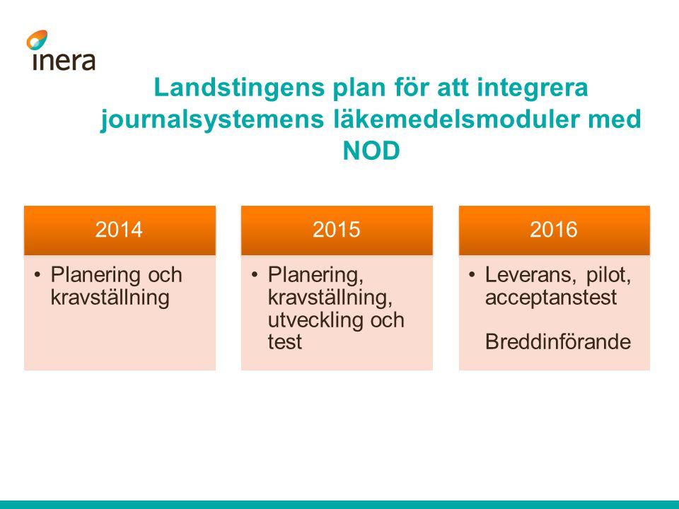 2014 Planering och kravställning 2015 Planering, kravställning, utveckling och test 2016 Leverans, pilot, acceptanstest Breddinförande Landstingens plan för att integrera journalsystemens läkemedelsmoduler med NOD