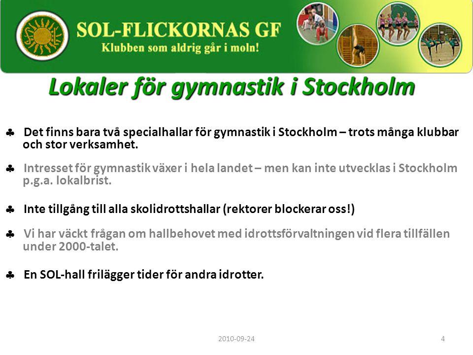 4 Lokaler för gymnastik i Stockholm  Det finns bara två specialhallar för gymnastik i Stockholm – trots många klubbar och stor verksamhet.  Intresse