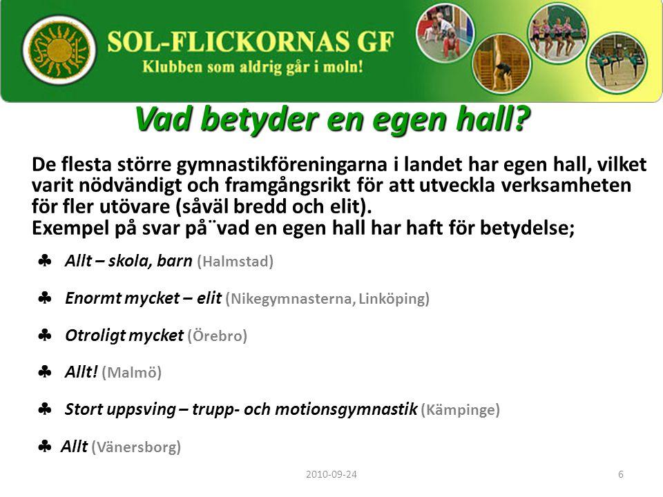6 Vad betyder en egen hall? De flesta större gymnastikföreningarna i landet har egen hall, vilket varit nödvändigt och framgångsrikt för att utveckla