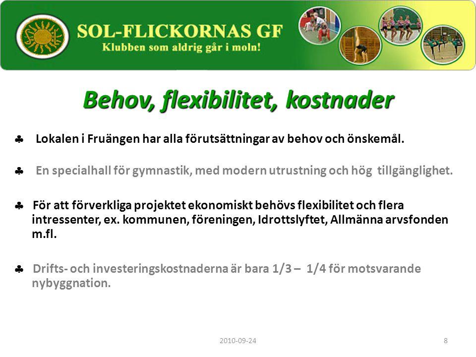 8 Behov, flexibilitet, kostnader  Lokalen i Fruängen har alla förutsättningar av behov och önskemål.  En specialhall för gymnastik, med modern utrus