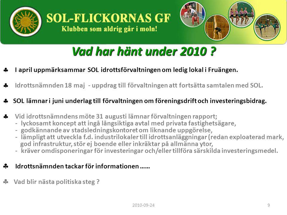 9 Vad har hänt under 2010 ?  I april uppmärksammar SOL idrottsförvaltningen om ledig lokal i Fruängen.  Idrottsnämnden 18 maj - uppdrag till förvalt