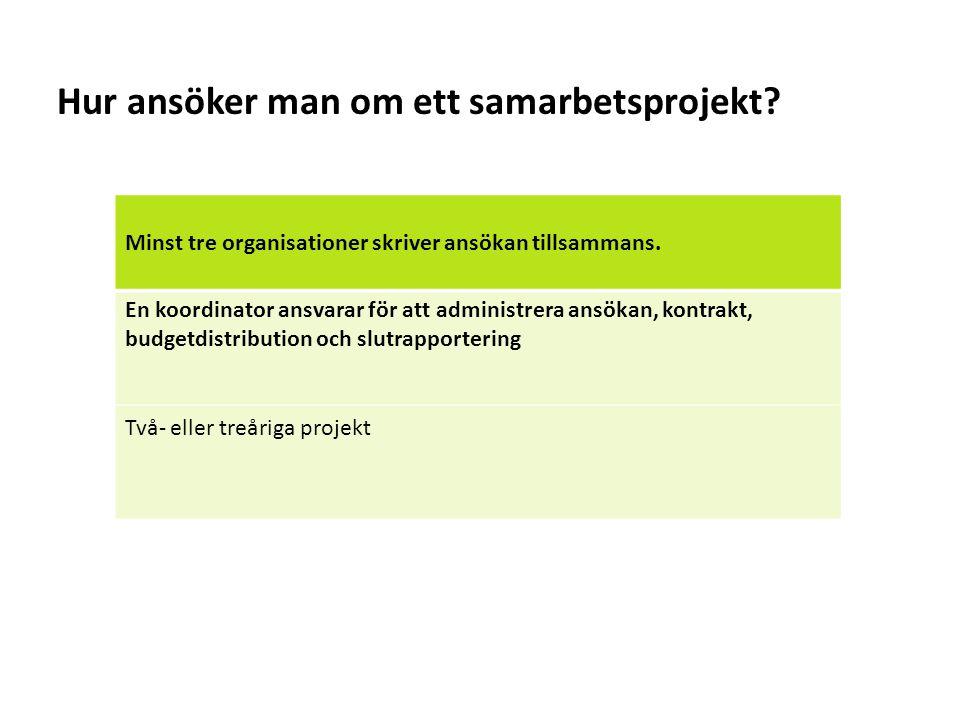 Sv Hur ansöker man om ett samarbetsprojekt? Minst tre organisationer skriver ansökan tillsammans. En koordinator ansvarar för att administrera ansökan