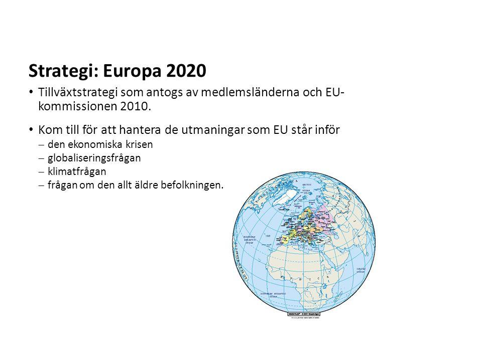 Sv Tillväxtstrategi som antogs av medlemsländerna och EU- kommissionen 2010. Kom till för att hantera de utmaningar som EU står inför  den ekonomiska
