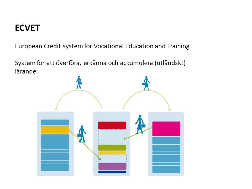 ECVET European Credit system for Vocational Education and Training System för att överföra, erkänna och ackumulera (utländskt) lärande