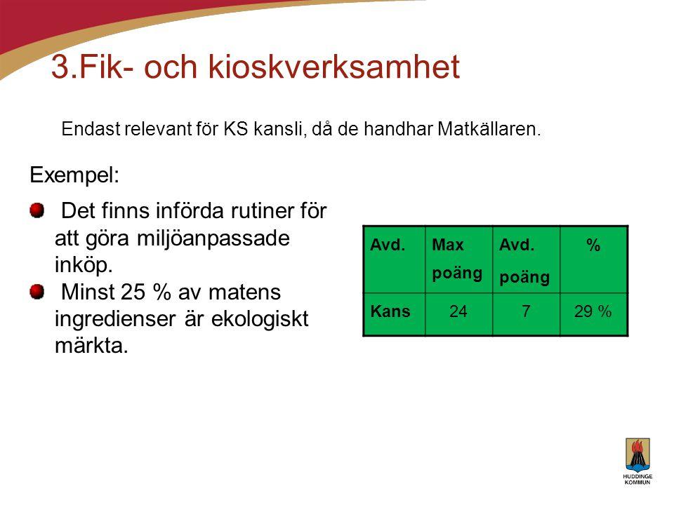3.Fik- och kioskverksamhet Endast relevant för KS kansli, då de handhar Matkällaren. Avd. Max poäng Avd. poäng % Kans24729 % Exempel: Det finns införd