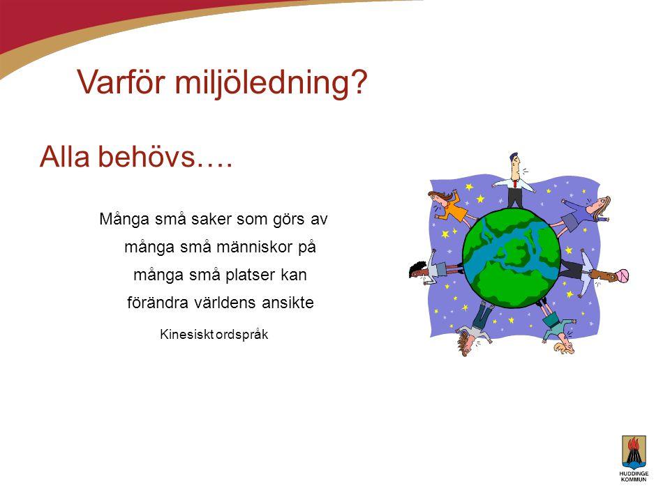 Syfte Vetskap om verksamheternas och kommunens miljöpåverkan Minska miljöpåverkan Systematiskt arbete i alla kommunens verksamheter