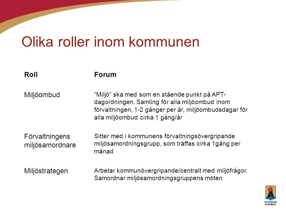 """Olika roller inom kommunen RollForum Miljöombud """"Miljö"""" ska med som en stående punkt på APT- dagordningen. Samling för alla miljöombud inom förvaltnin"""