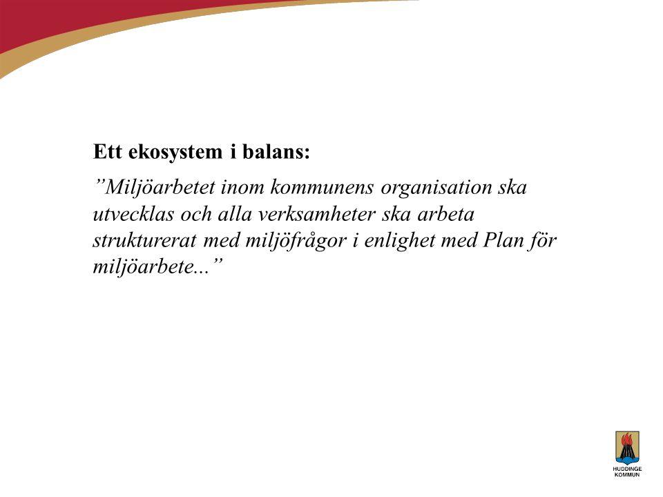 """Ett ekosystem i balans: """"Miljöarbetet inom kommunens organisation ska utvecklas och alla verksamheter ska arbeta strukturerat med miljöfrågor i enligh"""