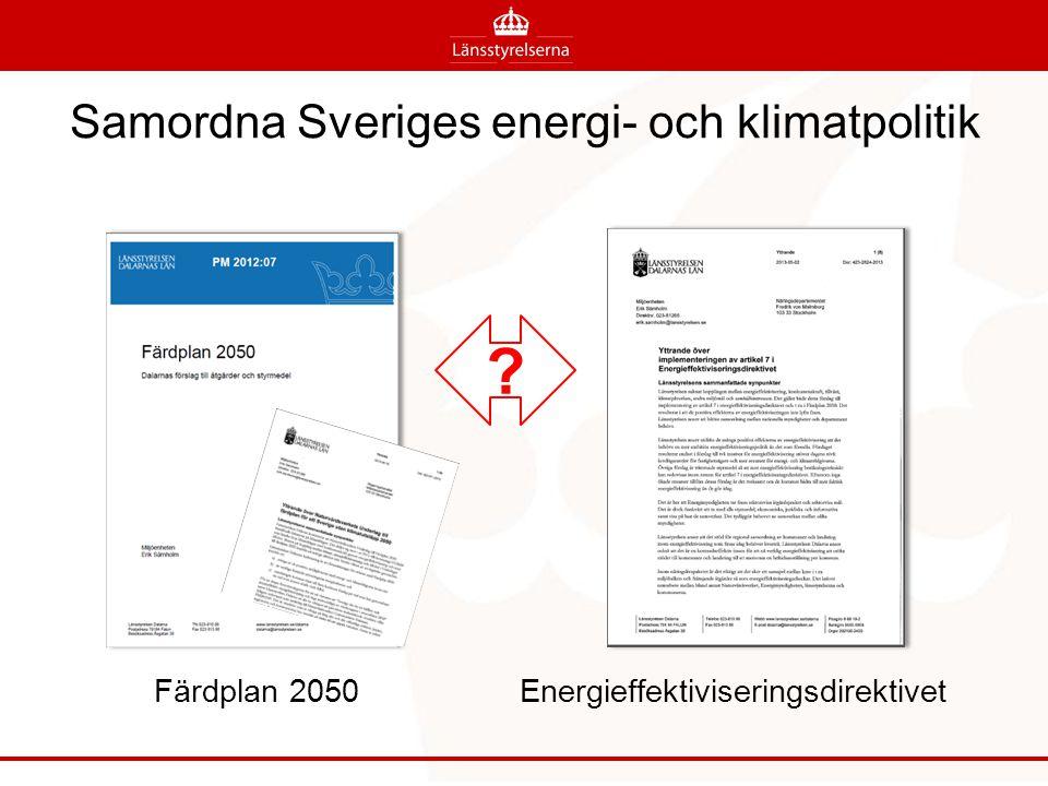 Samordna Sveriges energi- och klimatpolitik Färdplan 2050 Energieffektiviseringsdirektivet