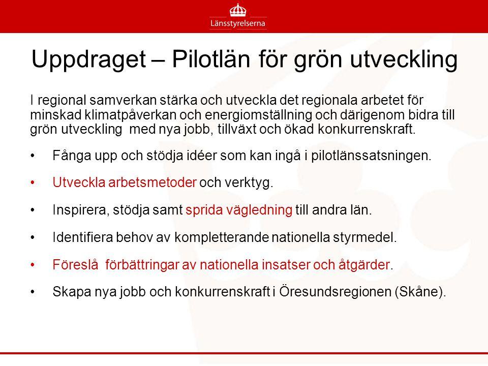 Genomförande Pilotlänen har samordnat nationella dialoger, länsstyrelsesamtal och webbvägledning.