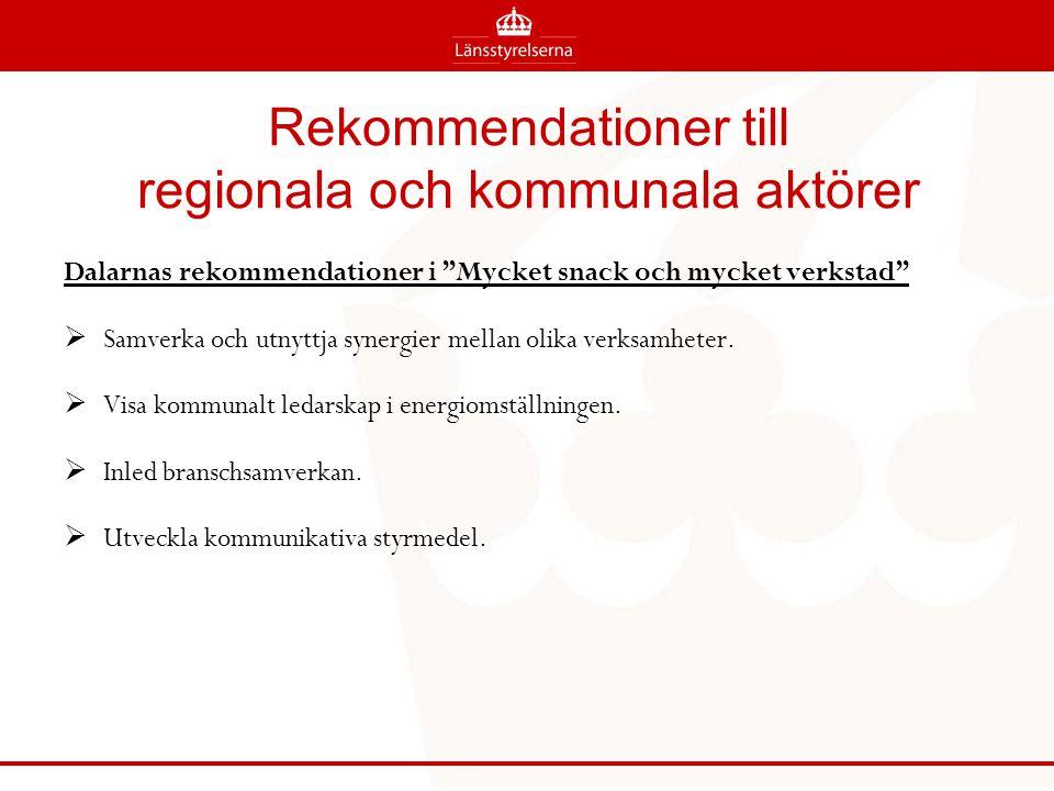 Rekommendationer till regionala och kommunala aktörer Dalarnas rekommendationer i Mycket snack och mycket verkstad  Samverka och utnyttja synergier mellan olika verksamheter.