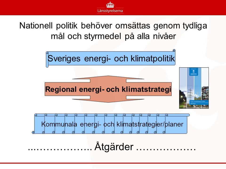 Nationell politik behöver omsättas genom tydliga mål och styrmedel på alla nivåer Sveriges energi- och klimatpolitik och klimatstrategier Regional energi- och klimatstrategi...……………..