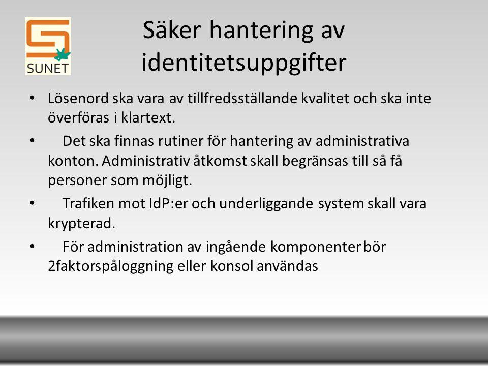 Säker hantering av identitetsuppgifter Lösenord ska vara av tillfredsställande kvalitet och ska inte överföras i klartext.