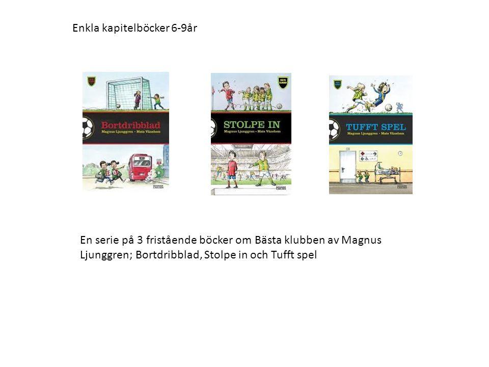 En serie på 3 fristående böcker om Bästa klubben av Magnus Ljunggren; Bortdribblad, Stolpe in och Tufft spel Enkla kapitelböcker 6-9år