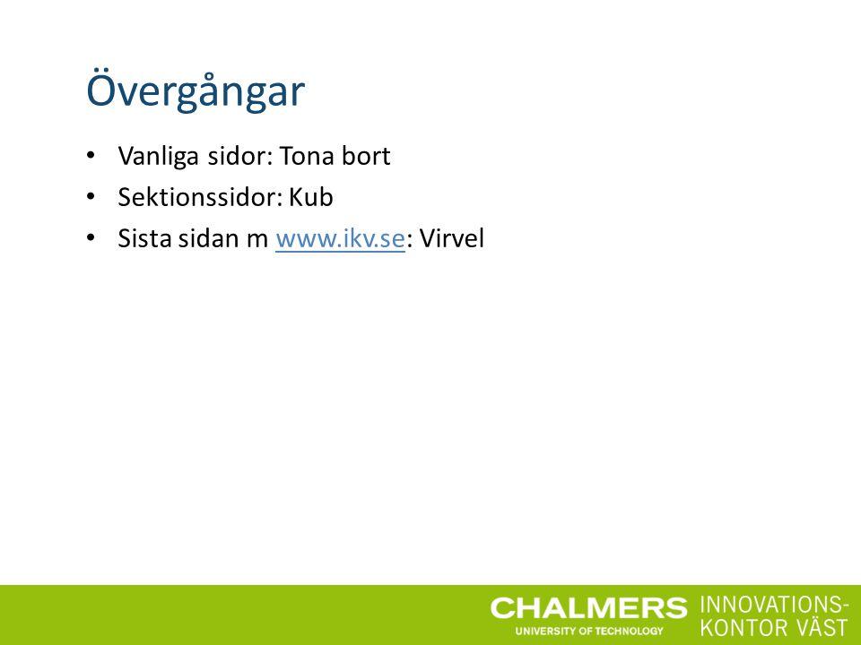Övergångar Vanliga sidor: Tona bort Sektionssidor: Kub Sista sidan m www.ikv.se: Virvelwww.ikv.se
