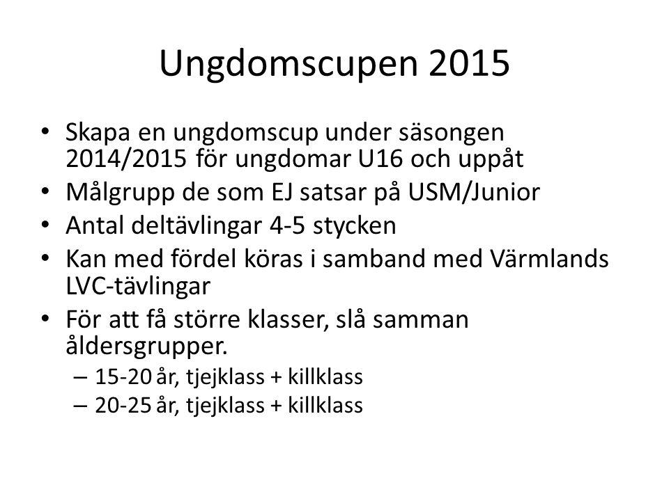 Ungdomscupen 2015 Skapa en ungdomscup under säsongen 2014/2015 för ungdomar U16 och uppåt Målgrupp de som EJ satsar på USM/Junior Antal deltävlingar 4-5 stycken Kan med fördel köras i samband med Värmlands LVC-tävlingar För att få större klasser, slå samman åldersgrupper.