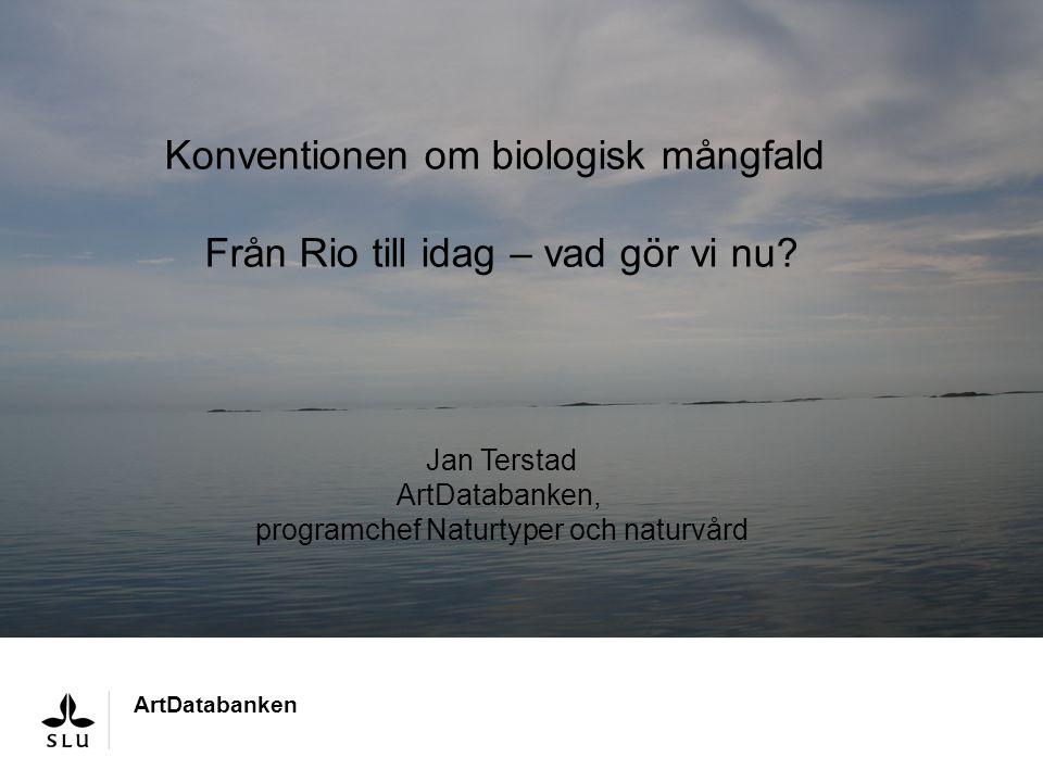 Skriv här ArtDatabanken Konventionen om biologisk mångfald Från Rio till idag – vad gör vi nu? Jan Terstad ArtDatabanken, programchef Naturtyper och n