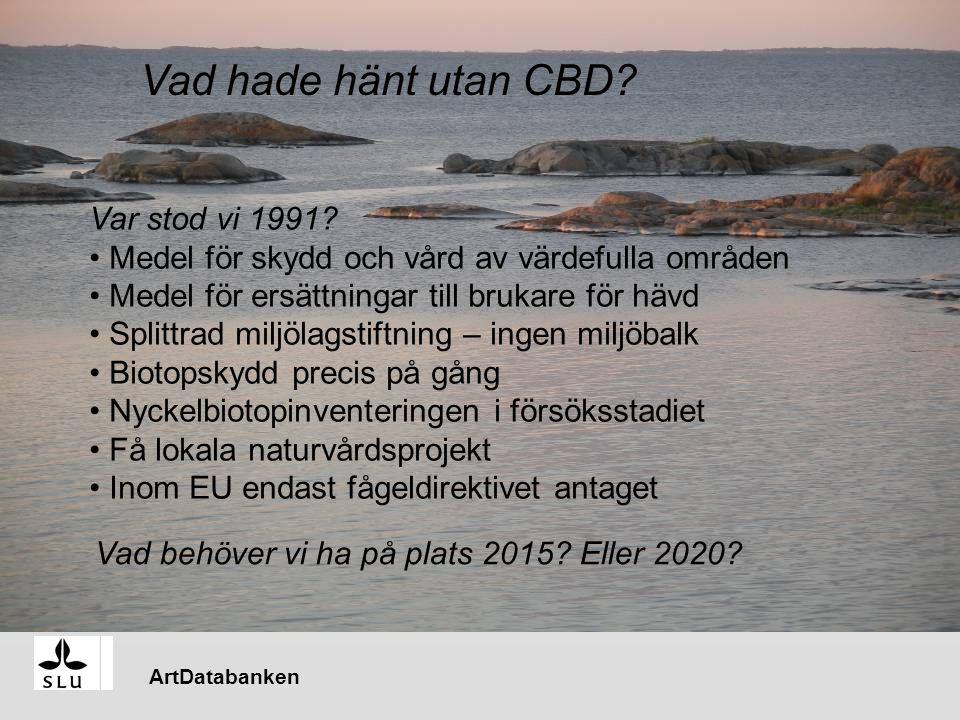 ArtDatabanken … ä Vad hade hänt utan CBD. Var stod vi 1991.