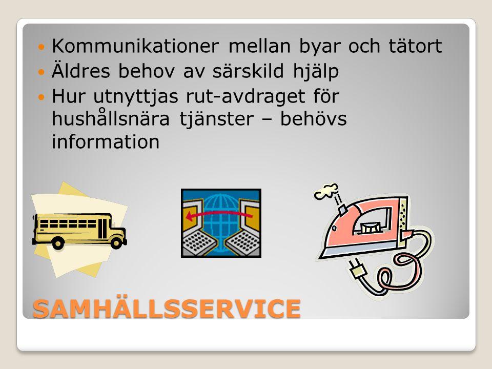 SAMHÄLLSSERVICE Kommunikationer mellan byar och tätort Äldres behov av särskild hjälp Hur utnyttjas rut-avdraget för hushållsnära tjänster – behövs in
