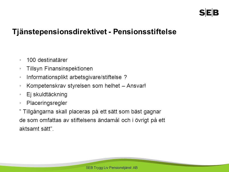 SEB Trygg Liv Pensionstjänst AB Tjänstepensionsdirektivet - Pensionsstiftelse 100 destinatärer Tillsyn Finansinspektionen Informationsplikt arbetsgiva