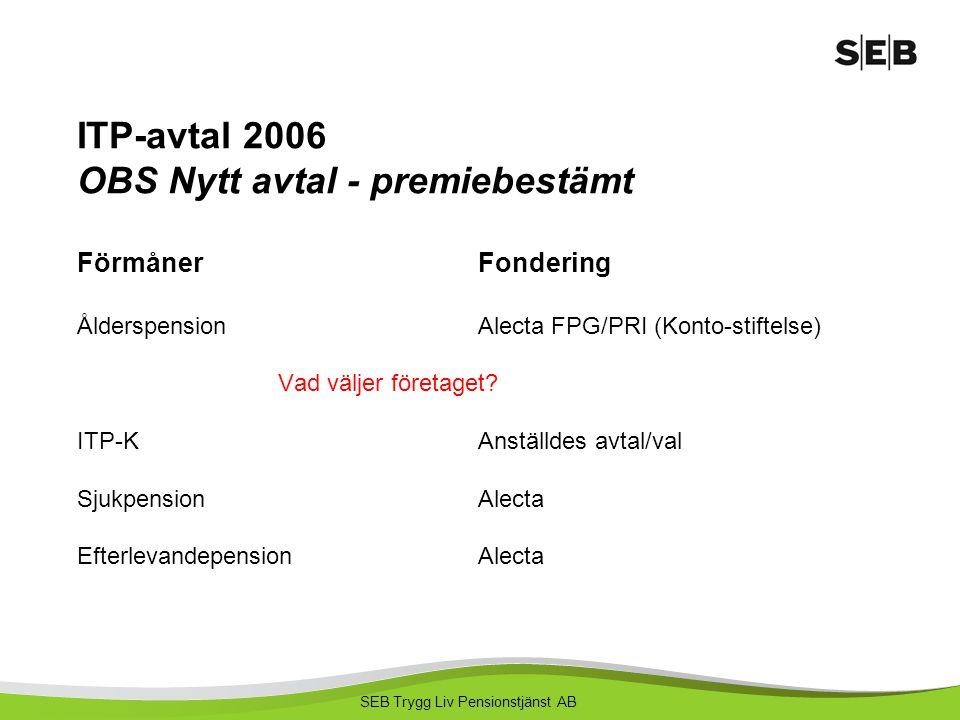 SEB Trygg Liv Pensionstjänst AB ITP-avtal 2006 OBS Nytt avtal - premiebestämt FörmånerFondering ÅlderspensionAlecta FPG/PRI (Konto-stiftelse) Vad välj