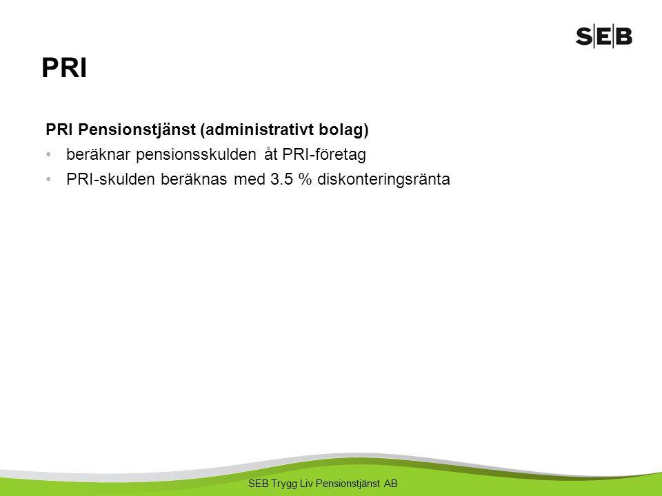 SEB Trygg Liv Pensionstjänst AB PRI PRI Pensionstjänst (administrativt bolag) beräknar pensionsskulden åt PRI-företag PRI-skulden beräknas med 3.5 % d