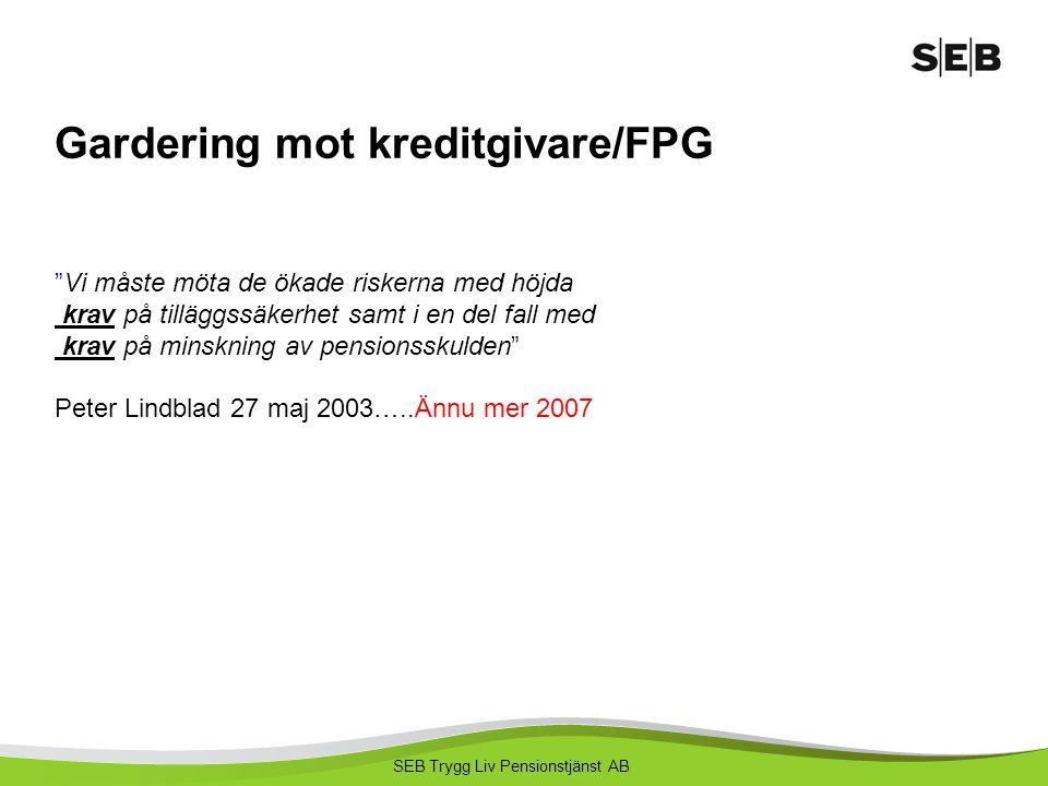 """SEB Trygg Liv Pensionstjänst AB Gardering mot kreditgivare/FPG """"Vi måste möta de ökade riskerna med höjda krav på tilläggssäkerhet samt i en del fall"""