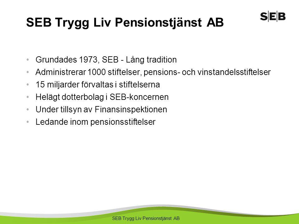 SEB Trygg Liv Pensionstjänst AB Grundades 1973, SEB - Lång tradition Administrerar 1000 stiftelser, pensions- och vinstandelsstiftelser 15 miljarder f