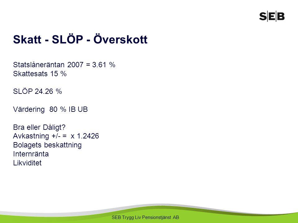 SEB Trygg Liv Pensionstjänst AB Skatt - SLÖP - Överskott Statslåneräntan 2007 = 3.61 % Skattesats 15 % SLÖP 24.26 % Värdering 80 % IB UB Bra eller Dål