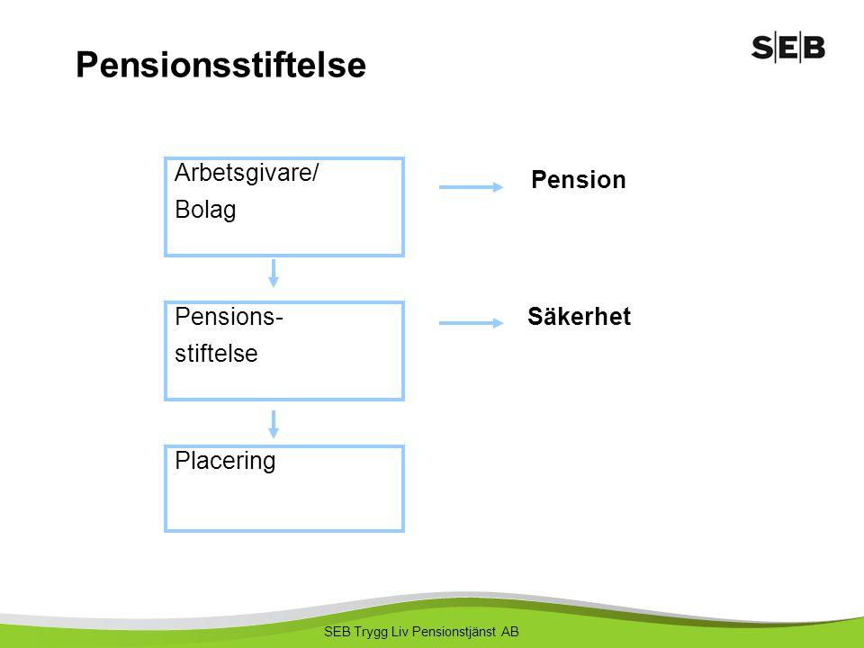 SEB Trygg Liv Pensionstjänst AB Pensionsstiftelse Pensions- stiftelse Placering Arbetsgivare/ Bolag Pension Säkerhet