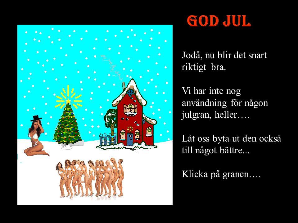 God Jul Jodå, nu blir det snart riktigt bra.Vi har inte nog användning för någon julgran, heller….
