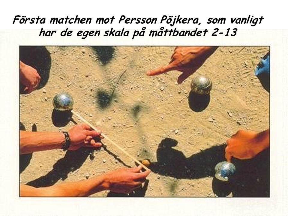 Första matchen mot Persson Pöjkera, som vanligt har de egen skala på måttbandet 2-13