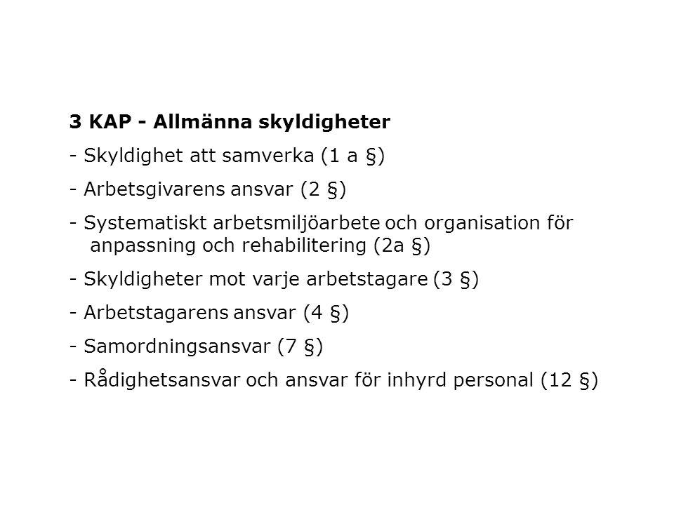 3 KAP - Allmänna skyldigheter - Skyldighet att samverka (1 a §) - Arbetsgivarens ansvar (2 §) - Systematiskt arbetsmiljöarbete och organisation för an