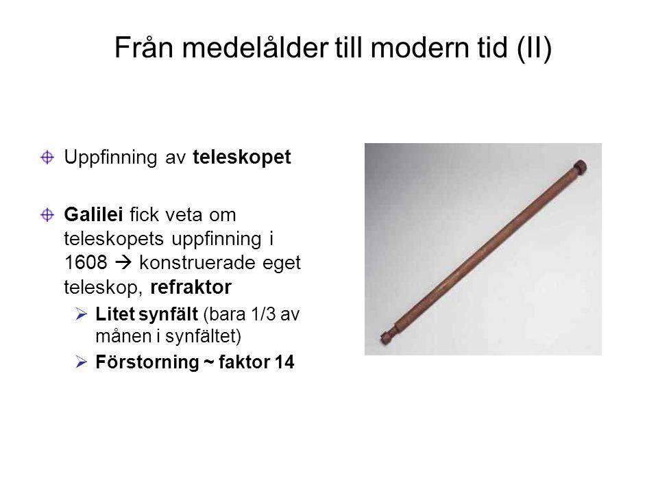 Från medelålder till modern tid (II) Uppfinning av teleskopet Galilei fick veta om teleskopets uppfinning i 1608  konstruerade eget teleskop, refrakt
