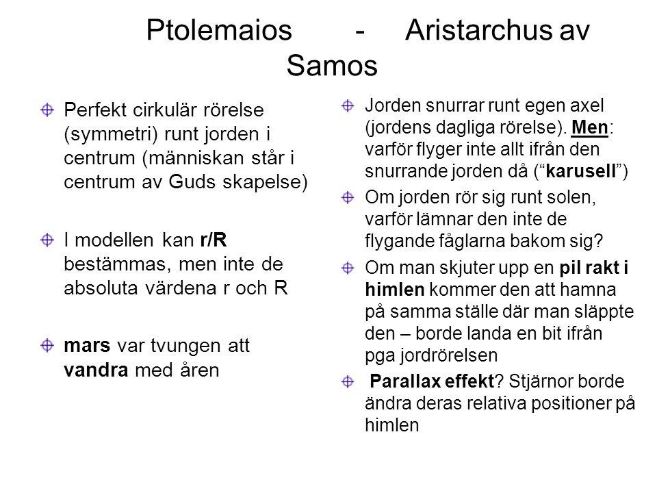 Ptolemaios - Aristarchus av Samos Perfekt cirkulär rörelse (symmetri) runt jorden i centrum (människan står i centrum av Guds skapelse) I modellen kan