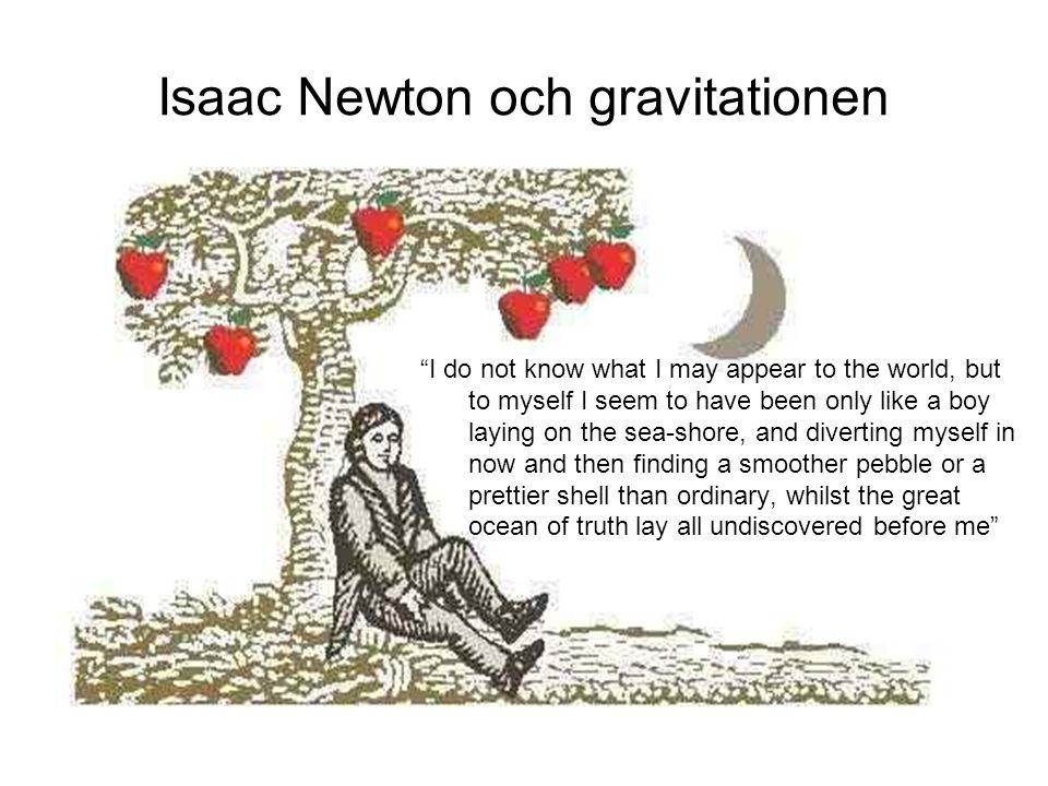 Sammanfattning Kepler – himmelsmekanik Galilei – fysikalisk beskrivning av jordiska mekaniken Problemet pa 1600-talet: forsok att forena jordiska fenomen med himmelsmekaniken  vilken kraft driver planeterna (Gilbert, Wilkins et al.: magnetismen; Galilei et al.: gravitationen)  hur andras kraften (avstånd, rorelse,...) Hooke  Korrekt beskrivning av dynamisk rorelse  Kraften avtar med radien (hur exakt är oviktigt)  Kraften är dock inte universell  Men: hittills okänd av Newton